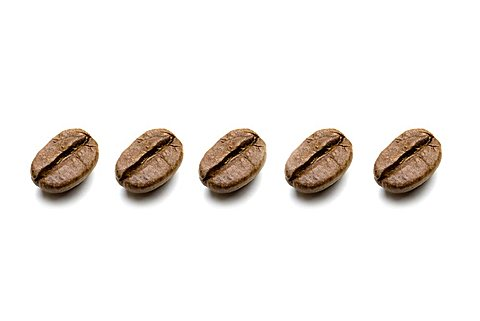 Coffee beans, identical, in a row