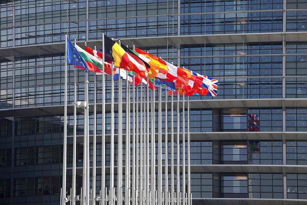 Flags, European Parliament, Strasbourg, Alsace, France, Europe