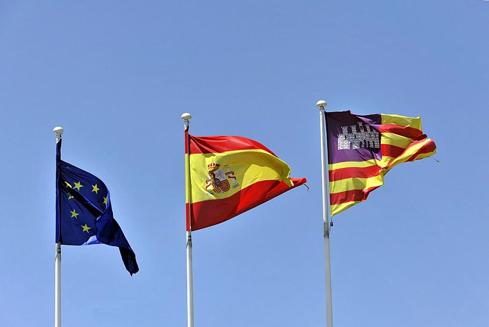 Flags of Europe, Spain and Majorca, airport of Palma de Majorca, Majorca, Balearic Islands, Spain, Europe