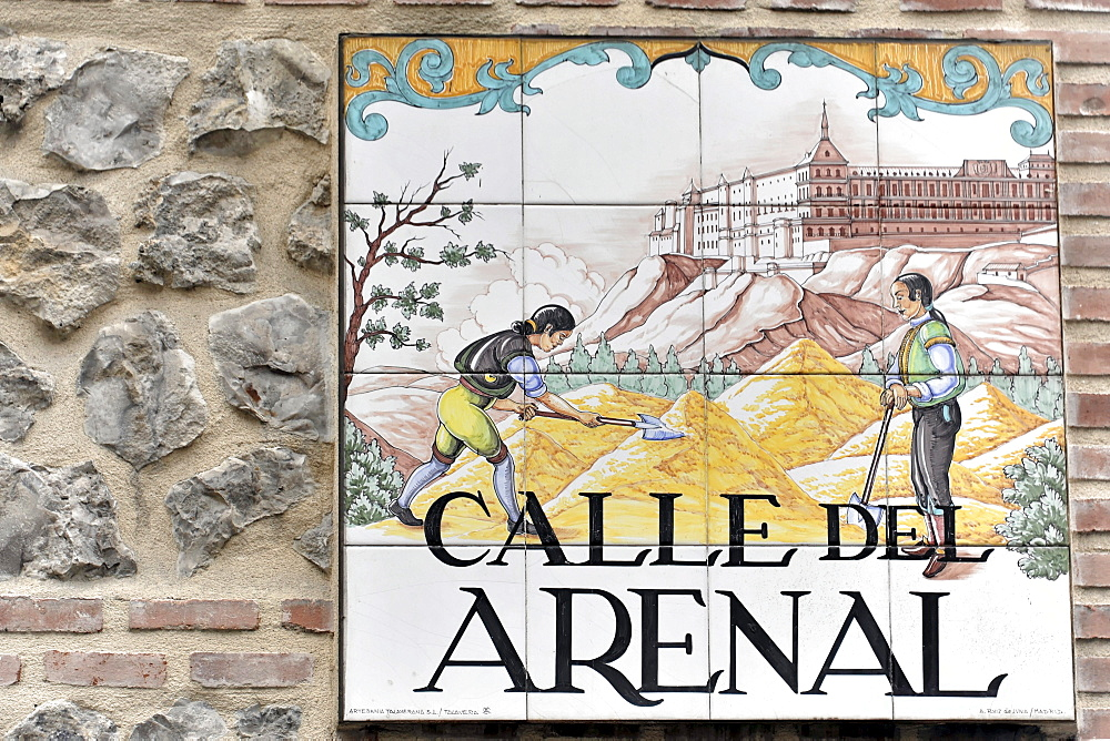 Calle de Arenal, street sign, azulejos, Spanish tiles, historic centre of Madrid, Spain, Europe
