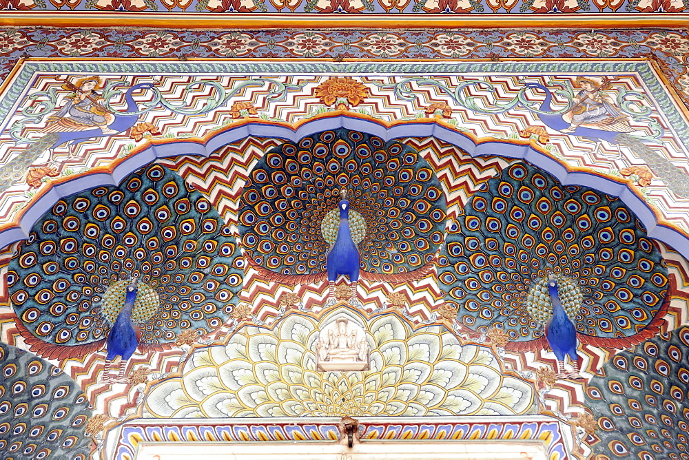 Monsoon Gate of the City Palace richly decorated with blue peacocks, Jaipur, Rajasthan, India, Asia