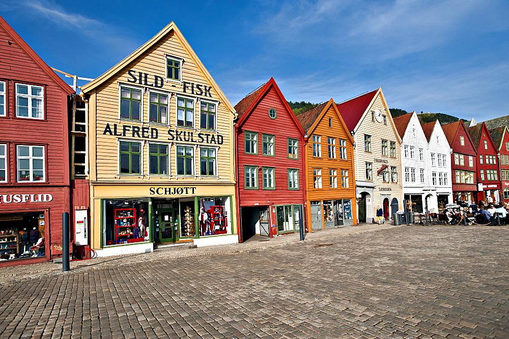 Row of houses, Tyskebryggen or Brygge, Hanseatic Quarter, Bergen, UNESCO World Heritage Site Hordaland, Norway, Scandinavia, Northern Europe, PublicGround