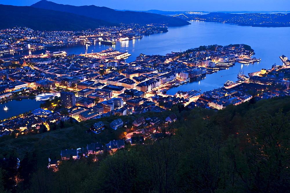 View from Mount Floyen towards Bergen at dusk, Hordaland, Norway, Scandinavia, Northern Europe