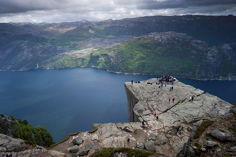 Pulpit Rock, also known as Preikestolen, Lysefjorden fjord at the back, Jorpeland, Rogaland, Norway, Scandinavia, Northern Europe
