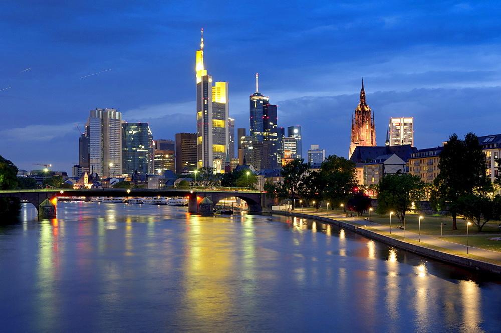 Skyline at dusk, Financial District, Frankfurt am Main, Hesse, Germany, Europe