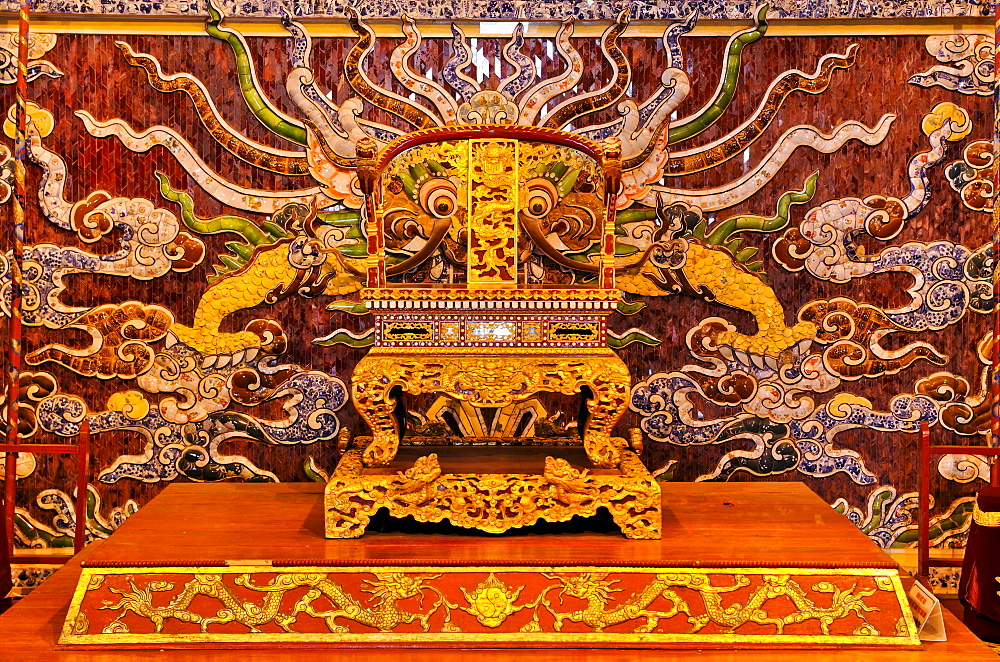 Throne on the stage of the theater, Hoang Thanh Imperial Palace, Forbidden City, Hue, UNESCO World Heritage Site, Vietnam, Asia