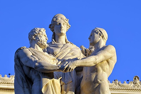 Three statues, detail view of the National Monument Vittorio Emanuele II, Rome, Lazio, Italy, Europe