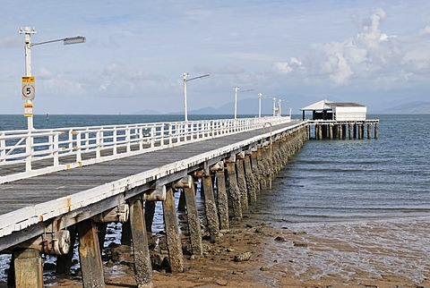Old jetty at low tide, wooden construction, Picnic Bay, Magnetic Island, Queensland, Australia