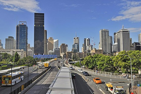 Victoria Bridge and skyscrapers in the city, Brisbane, Queensland, Australia