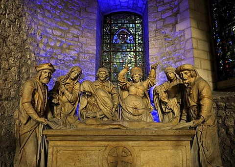 Depiction, Pieta, Virgin Mary mourning Jesus Christ, basilica Abbey of Saint-Remi, UNESCO World Heritage Site, Reims, Champagne-Ardenne, Marne, France, Europe