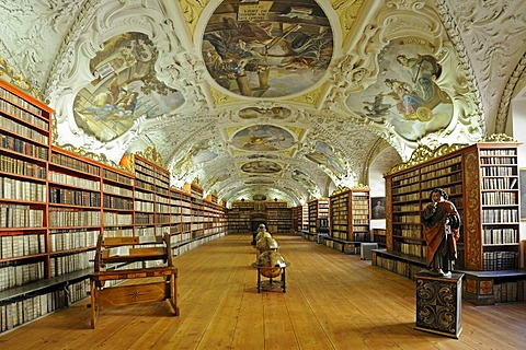 Globes, very old books, library, hall of theology, Strahov Abbey, Hradschin castle district, Prague, Czech Republic, Europe