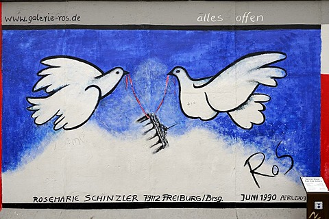 Alles offen, German for All Open, mural by Rosemarie Schinzler, Berlin Wall, East Side Gallery, Berlin, Germany, Europe