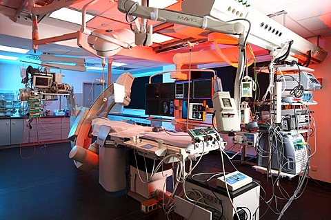 Electrophysiological cardiac catheterization, EPU, for cardiac arrhythmia, in a hospital in Germany, Europe