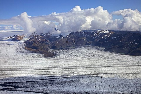 Aerial view, ash structures from the Grimsvoetn volcano in the ice of the Vatnajoekull glacier, south Iceland, Europe