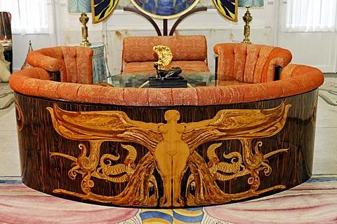 Ornamental sofa, Adolf Boehm-Saal hall, Ernst Fuchs Museum, former mansion of architect Otto Wagner, Vienna, Austria, Europe