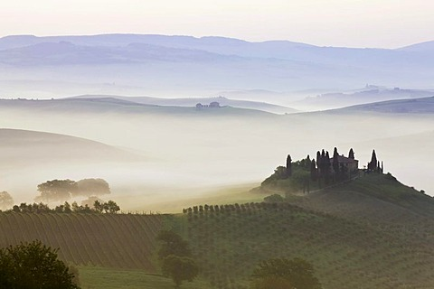 Podere Belvedere in the morning fog, San Quirico, Val d'Orcia, Tuscany, Italy, Europe, PublicGround