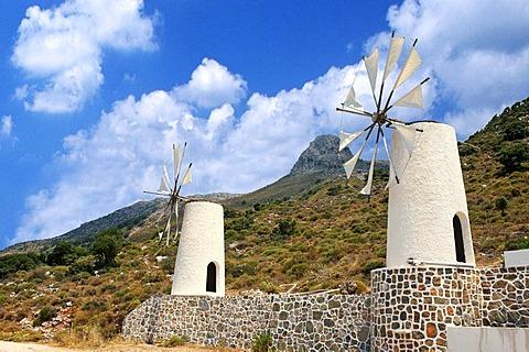 Windmills, Lasithi Plateau, Crete, Greece, Europe