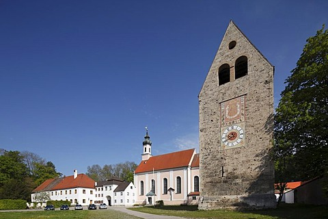 Gatehouse and church, Benedictine monastery Kloster Wessobrunn, Pfaffenwinkel, Upper Bavaria, Bavaria, Germany, Europe