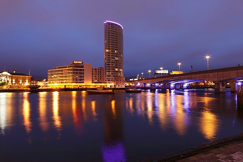 Obel Tower overlooking the River Lagan, Belfast, Northern Ireland, United Kingdom, Europe, PublicGround