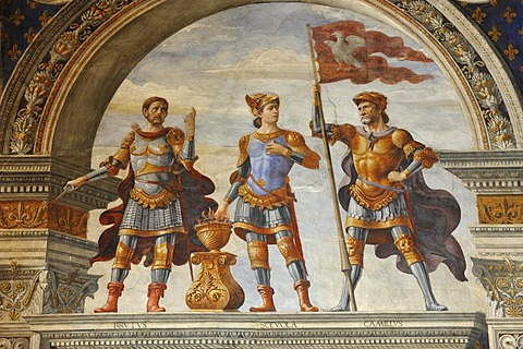 Detail of one of the many frescoes in the Palazzo Vecchio in Florence, Tuscany, Italy, Europe