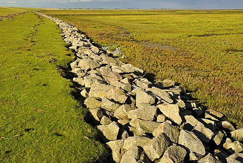 Riprap as a costal protection measure, Norderfriedrichskoog tidal flats, Nationalpark Schleswig-Holsteinisches Wattenmeer, Schleswig-Holstein Wadden Sea National Park, Eiderstedt peninsula, North Friesland region, Schleswig-Holstein, Germany, Europe