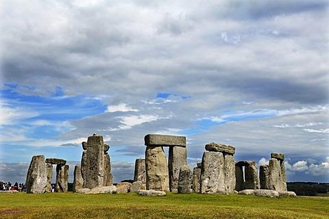 Stonehenge with rain clouds, UNESCO World Heritage Site, Wiltshire, England, United Kingdom, Europe