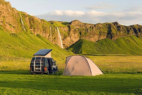 Camping at Seljalandsfoss waterfall, southern Iceland, Europe