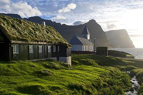 Church, Viareii, Vioy, Faroe Islands, North Atlantic