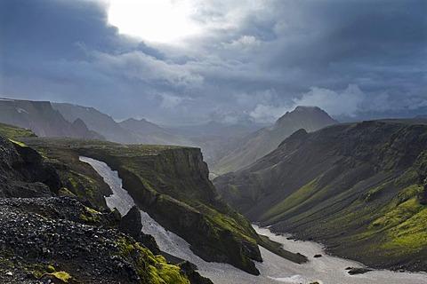 At the Fimmvoeruhals pass, fiorsmoerk or Thorsmoerk ridge, Icelandic highlands, South Iceland, Iceland, Europe