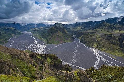 Krossa river, fiorsmoerk or Thorsmoerk mountain ridge, Icelandic highlands, South Iceland, Iceland, Europe