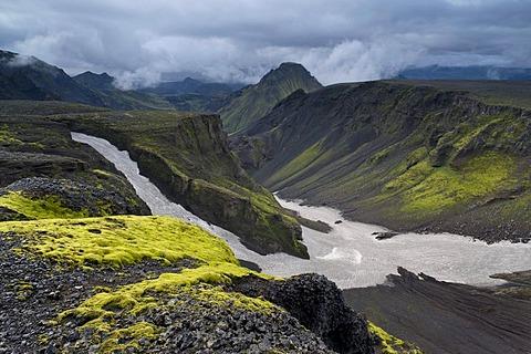 Fimmvoeruhals Pass, fiorsmoerk or Thorsmoerk mountain ridge, Icelandic highlands, South Iceland, Iceland, Europe