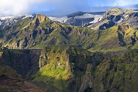 fiorsmoerk or Thorsmoerk mountain ridge, Icelandic highlands, Southern Iceland, Iceland, Europe