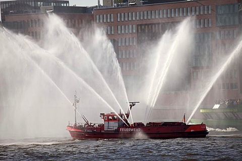 Fire boat spouting water in all directions, Hafengeburtstag or Port Anniversary 2011, Hanseatic City of Hamburg, Germany, Eur