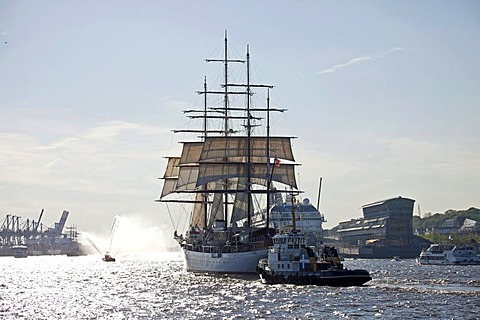 Three-masted luxury cruise ship, Sea Cloud, during the parade for the birthday celebrations for the port of Hamburg in 2011, Free and Hanseatic City of Hamburg, Germany, Europe