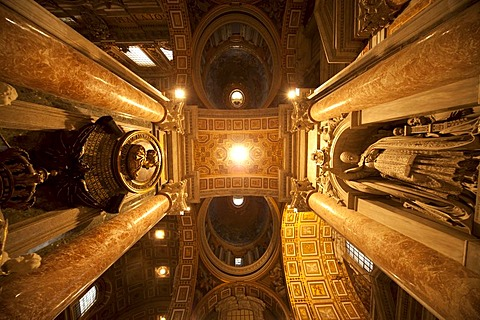 Ceiling and columns in St. Peter's Basilica, Vatican City, Rome, Lazio, Italy, Europe