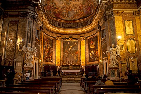 Church of Sant'Andrea delle Fratte with marble statues by Gian Lorenzo Bernini in Rome, Italy, Europe