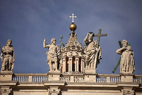Statue of Jesus with the Cross and the Apostles on St. Peter's Basilica in Rome, Italy, Europe