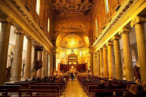 Interior of the Church of Santa Maria in Trastevere in Rome, Italy, Europe