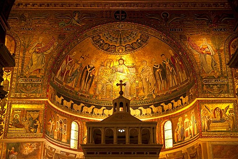 Apse with mosaics by Cavallini in the interior of the Church of Santa Maria in Trastevere in Rome, Italy, Europe