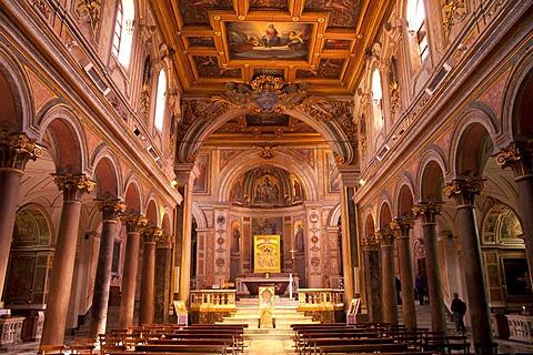 Interior of the Basilica of San Bartolomeo all'Isola on Tiber Island, Rome, Italy, Europe