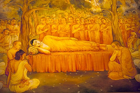 Painting of a reclining Buddha at the Temple of the Tooth, also known as Sri Dalada Maligawa, Kandy, Sri Lanka, Indian Ocean
