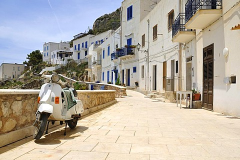 Row of houses with Vespa, Levanzo, Aegadian Islands, Sicily, Italy, Europe