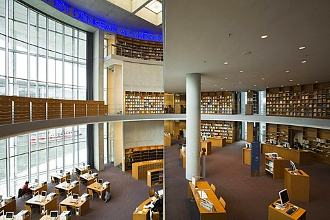 Library of Deutscher Bundestag, German parliament, Marie-Elisabeth-Lueders-Haus, building, view of the reading room, Berlin, Germany, Europe