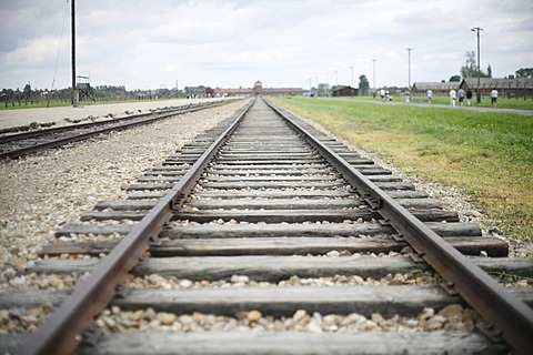 Train tracks, concentration camp Auschwitz-Birkenau, Oswiecim, Poland, Europe