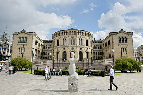 Assembly Hall, Parliament, the Storting building, Storthinget, inner city, Oslo, Norway, Scandinavia, Northern Europe, Europe