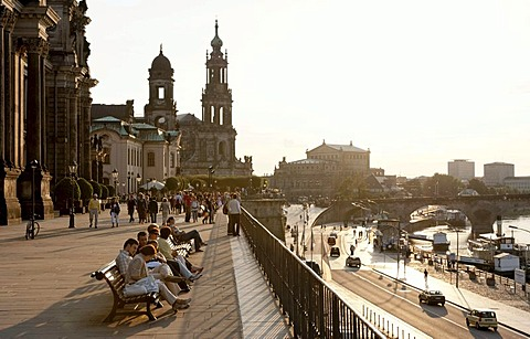 Bruehlsche Terrasse terrace on the Elbe river shore, Dresden, Saxony, Germany, Europe