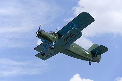 Antonov-2 biplane, celebration of the 100th anniversary of the airfield, in Lueneburg, Lower Saxony, Germany