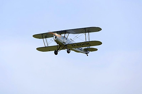 Biplane at the festival on the airfield celebrating 100 years of flying in Lueneburg, Lower Saxony, Germany