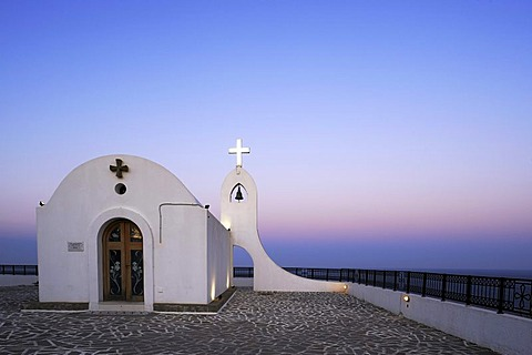 Agia Sophia Chapel at dusk, magic hour, Faliraki, Rhodes, Greece, Europe