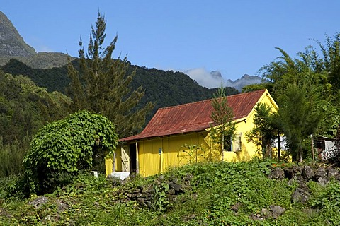 Tin hut in the Cirque de Salazie caldera in Hell-Bourg, Reunion island, Indian Ocean